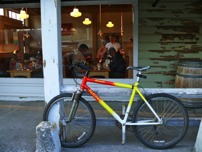 Pedaling to breakfast, McCloud. California, 2008
