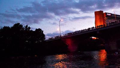 Bats (faintly) over the Columbia, Austin, Texas, 2009
