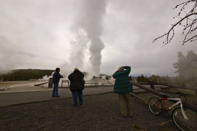 Geyser shooters, Yellowstone National Park, Wyoming, 2010