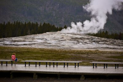 Waiting for Old Faithful, Yellowstone National Park, Wyoming, 2010
