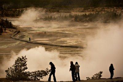 Man and nature, Yellowstone National Park, Wyoming, 2010