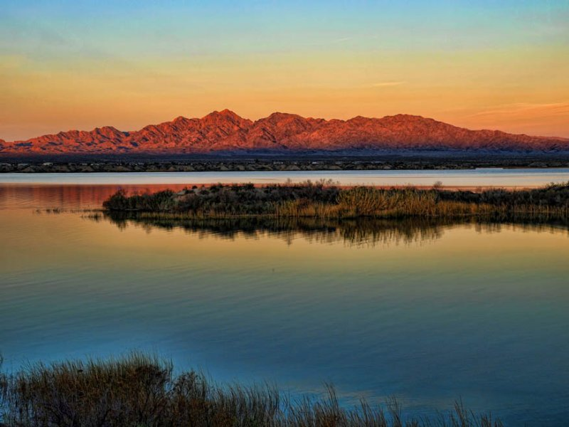 Sunrise on Turtle Mountain and Lake Havasu