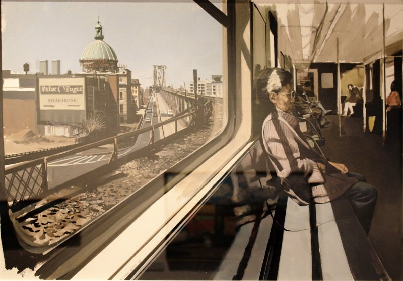 M Train on Route to Manhattan Approaches to Williamsburg Bridge 1995