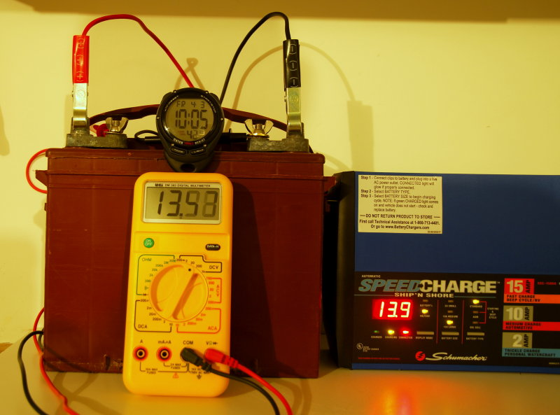 Charge Applied Fri 10:05:42 P.M. Voltage rises quickly to 13.67 volts: