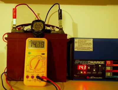 By 10:05:56, or within 14 seconds, the voltage was already 14.13 volts: