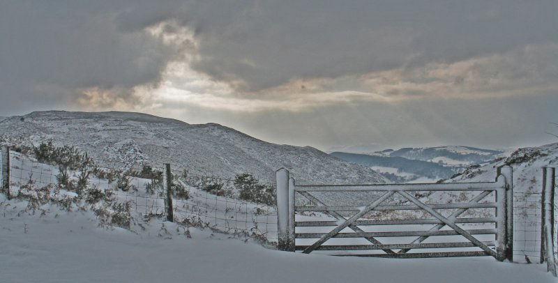 snow covered gate. (stiperstones)