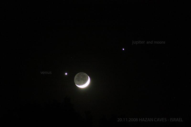 MOON WITH VENUS AND JUPITER
