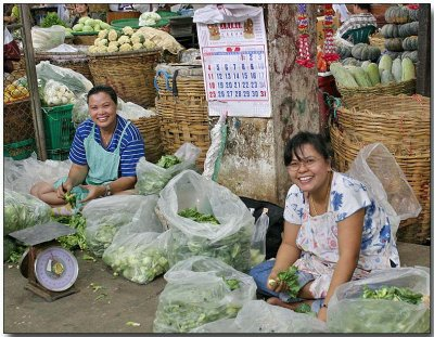 Veggies for sale, the Smiles are free