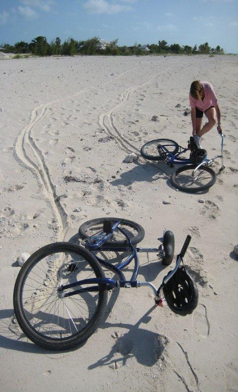 Galina dropping bike-tip of leeward