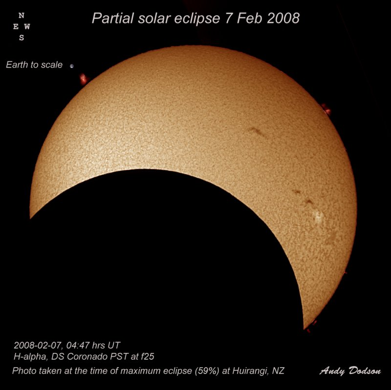 20080207, 04:47 hrs UT, Ha, DS PST at f25, photo taken at time of max eclipse