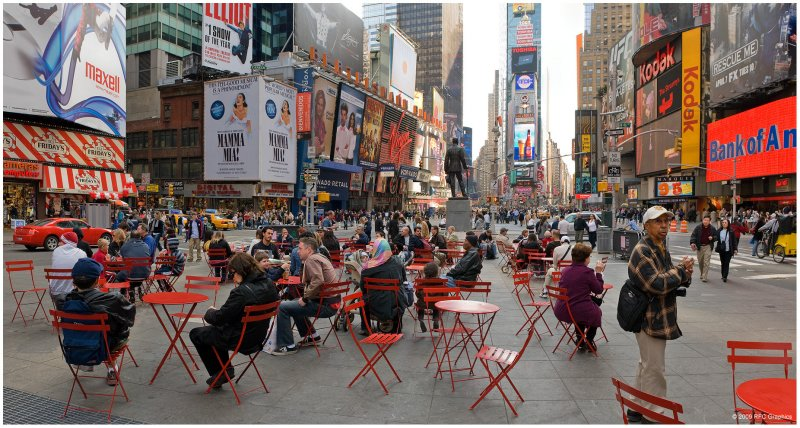 Red Tables in Times Square #2