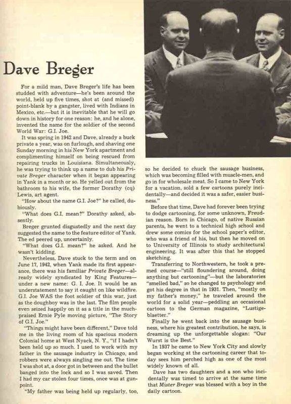 Bregers biography from a 1948 King Features catalog