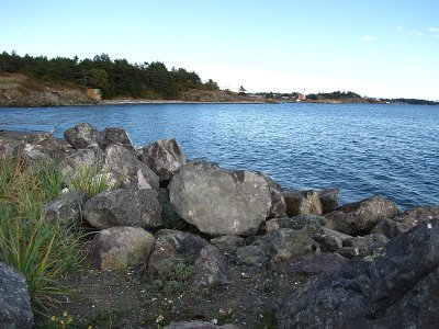 Fisgard Lighthouse in the distance.