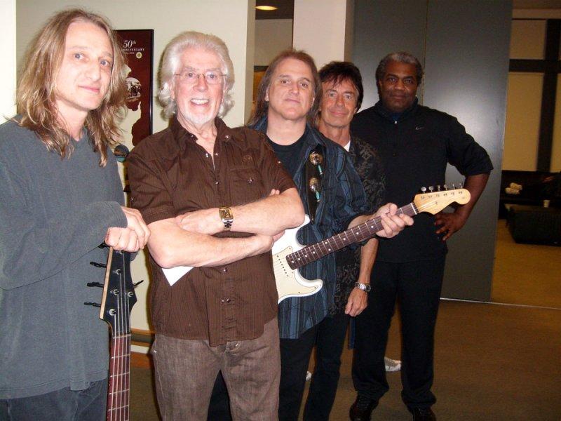 John Mayalls new band. (L to R) Greg Rzab, John Mayall, Rocky Athas, Tom Canning, Jay Davenport. Los Angeles 2009.