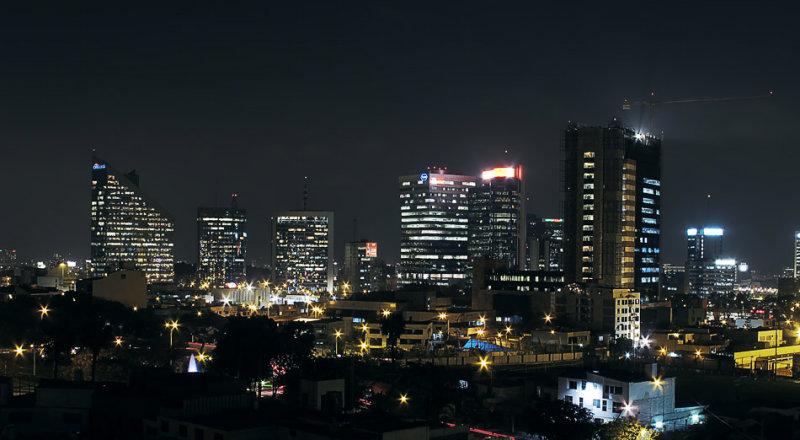 San Isidro finantial district at night