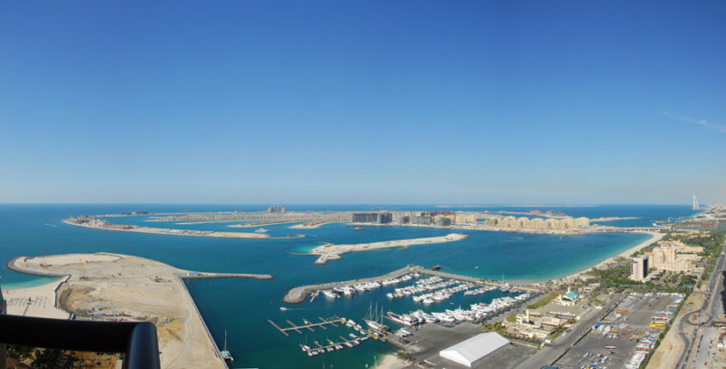 Panorama of the Palm and Dubai Marina from the Grosvenor Hotel