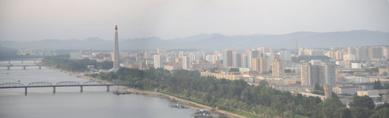 Panorama of the east bank of the Taedong River with Juche Tower, Pyongyang
