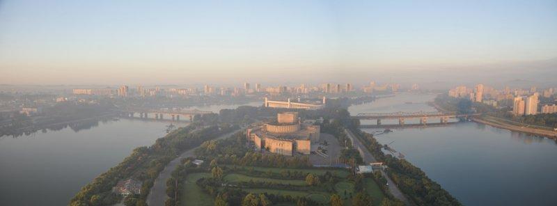 Panorama of Taedong River and Yanggakdo Island looking south