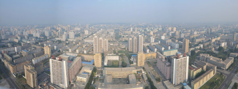 Panorama of the view to the east of Juche Tower