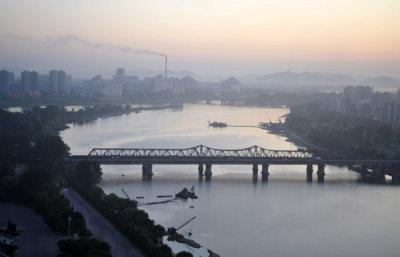 Taedong River looking south from the Yanggakdo Hotel, Pyongyang