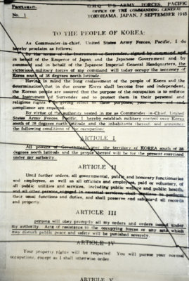 Notification of the U.S. occupation of Korea south of the 38th Parallel