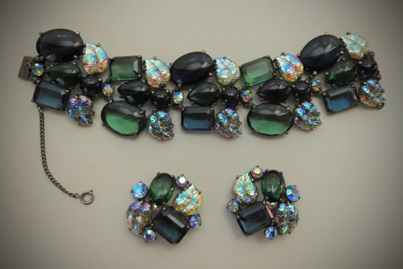Elsa Schiaparelli bracelet & earrings <br>1950s full detail