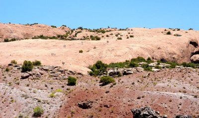 Hikers on the sandstone