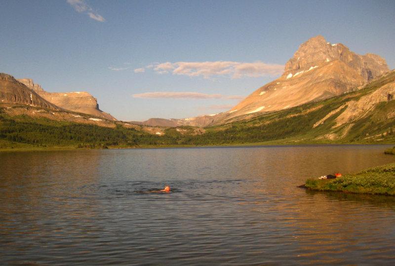 Breakfast swim in Baker Lake