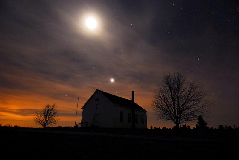 Moon & Venus over Fairview Church