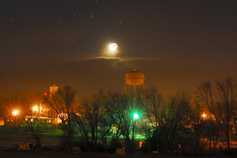Moon with Water Towers