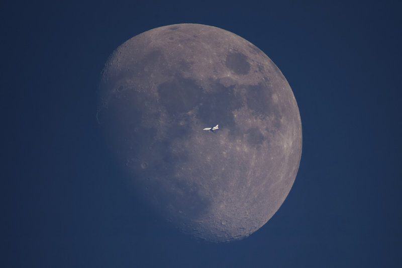 Moon with Plane Passage