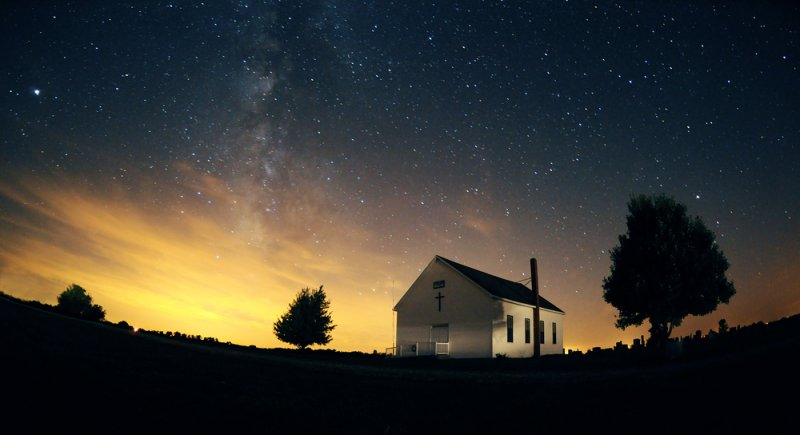 Fairview Church with Milky Way