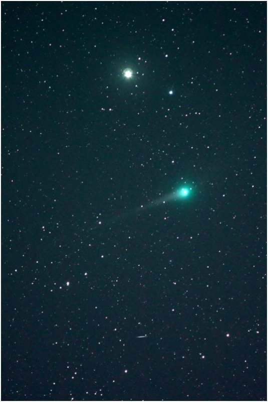 Comet Lulin, Saturn, a meteor and a satellite