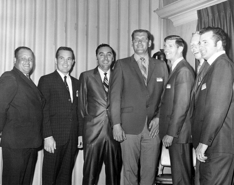 (Left to Right) Flookie Buford, Billy McRae, Ben Pruitt, Buddy Baker, Paul Goldsmith, Pete Hamilton, and Lee Roy Yarbrough