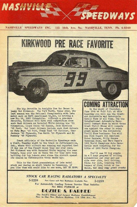 Nashville Speedway newsletter Pat Kirkwood