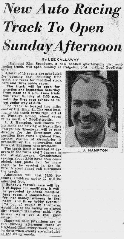 May 22, 1962. Highland Rim opening.