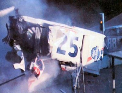 Charlie Binkleys crash while leading the Southern 300 1972