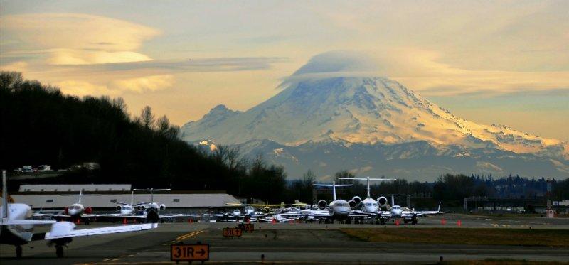 Mt Rainier overshadows Boeing Field