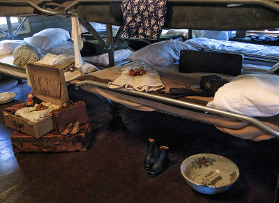 Those on top bunks used the floor space for items also, of course.