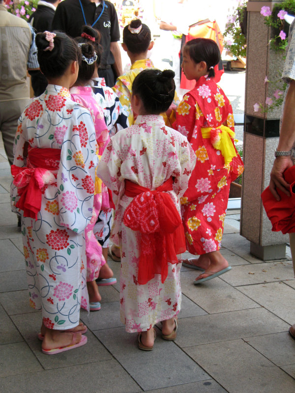 Young local girls in yukata