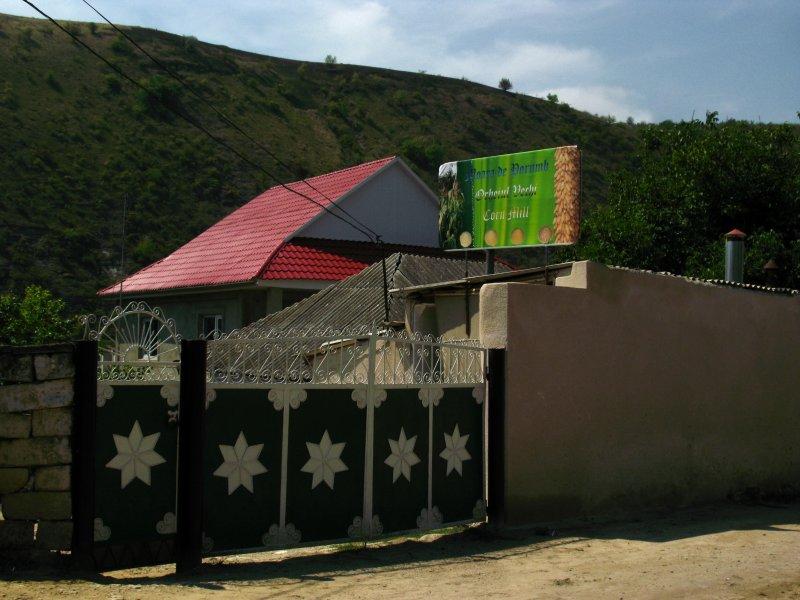 Decorative gate outside the village mill