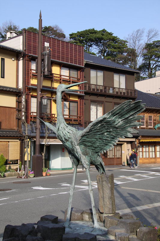 Crane statue outside the station area