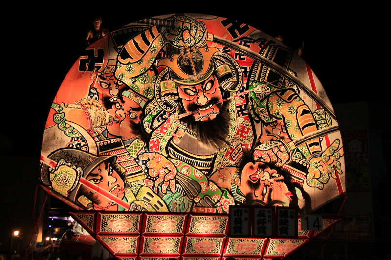 Front of a neputa float with battle scene