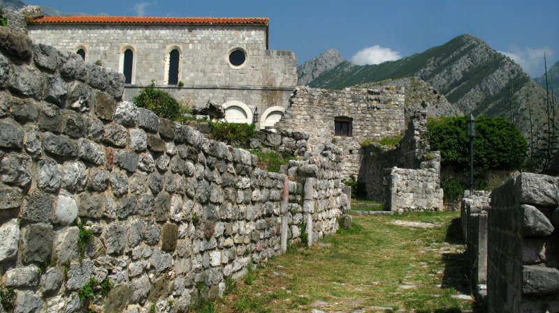Old path and ruined church, Stari Bar