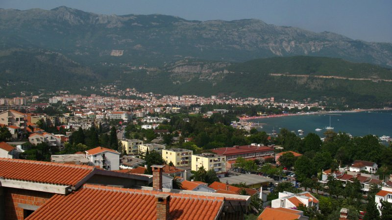 The low-rise resort town sprawl of Budva