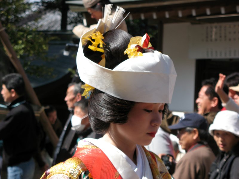 Woman in kimono in the parade