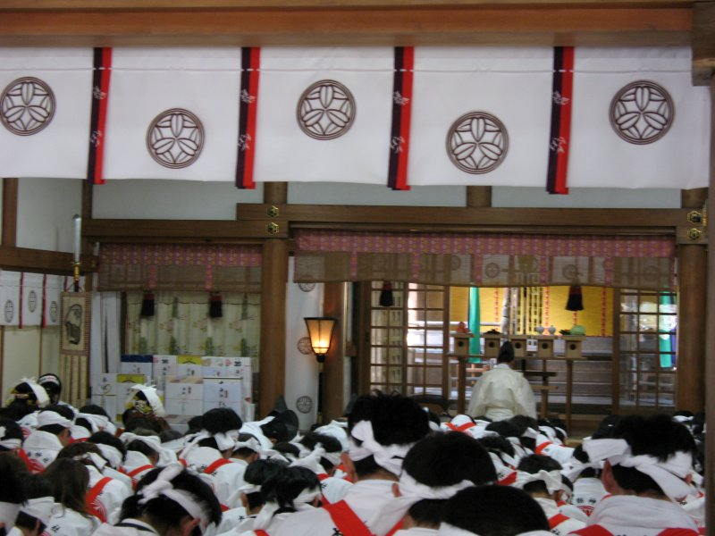 Praying for the years harvest within the Hon-dō