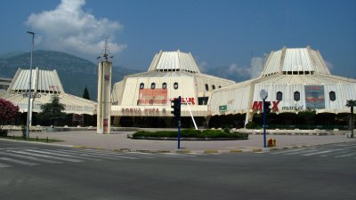 Moon colony architecture in the town center