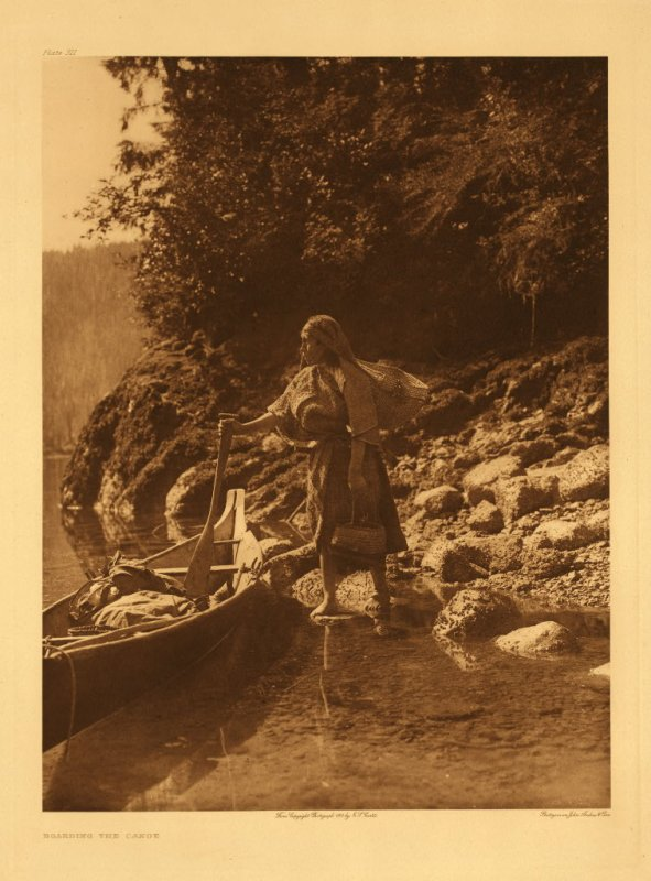 Boarding the canoe