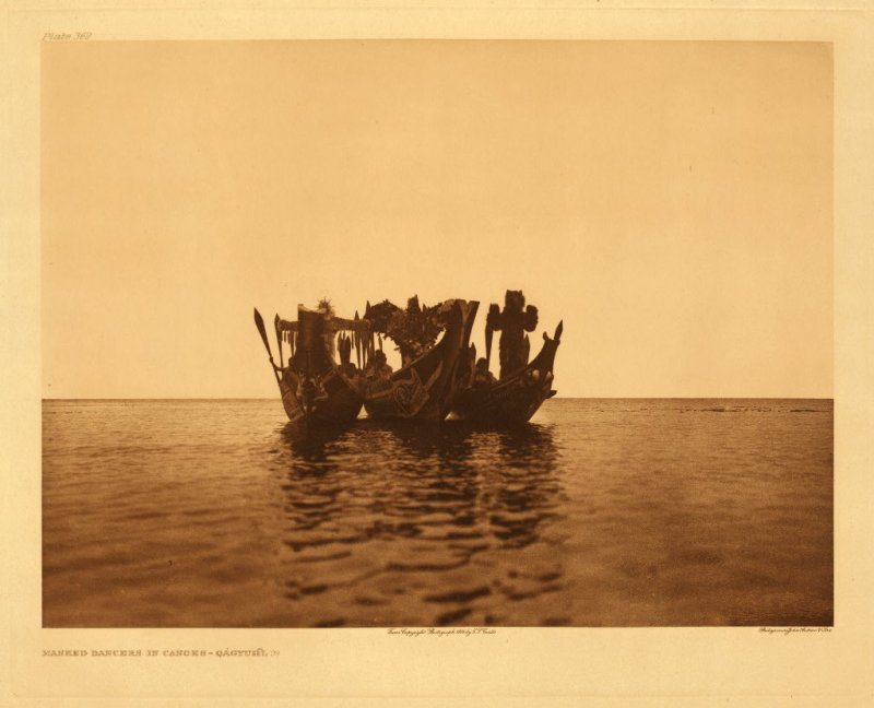 Masked dancers in canoes - Qagyuhl